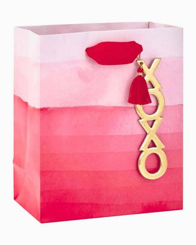 Pink Ombre Small Gift Bag With XOXO Tag, 6.5""