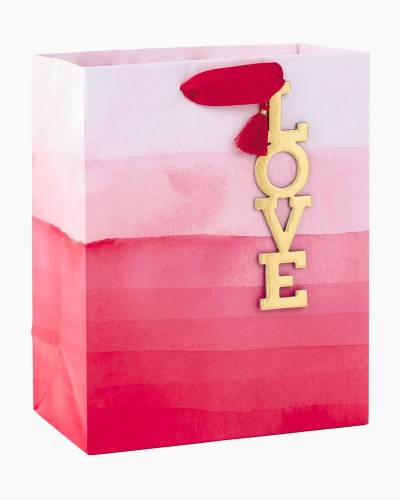 Pink Ombre Medium Gift Bag With Love Tag, 9.5""