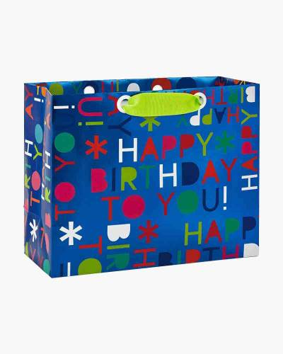 Happy Birthday Print Medium Gift Bag, 7.75-inch