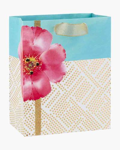 Pink Flower with Gold Geometric Dots Medium Gift Bag