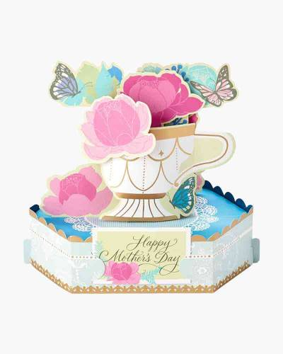 Wonderfolds Flower Tea Cup Mother's Day Pop-Up Card (Anyone)