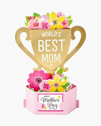 Wonderfolds World's Best Mom Trophy Mother's Day Pop-Up Card (Mother)