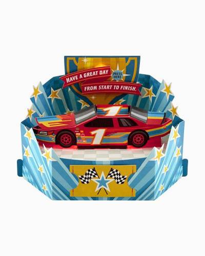Good Time Race Car Pop Up Musical Birthday Card With Light