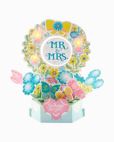 Mr. & Mrs. Butterfly Bouquet Pop Up Musical Wedding Card With Light