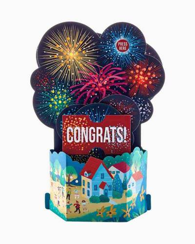 Festive Fireworks Pop Up Musical Congratulations Card With Light