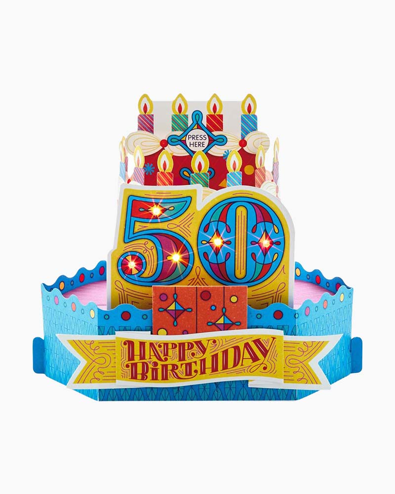 Hallmark 50th Birthday Cake With Candles Pop Up Musical Card Light
