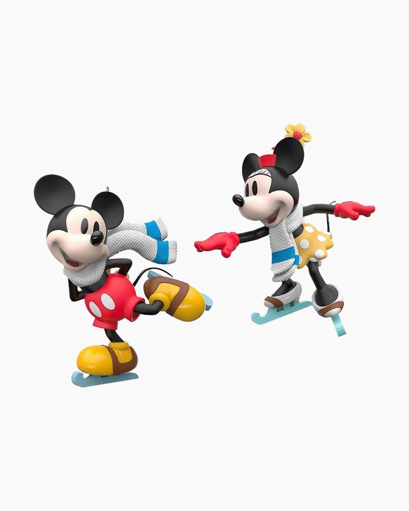 Hallmark Disney Mickey and Minnie Mice on Ice Ornaments, Set of 2 ...