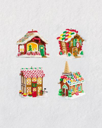 Gingerbread Village Ornaments With Light, Set of 4