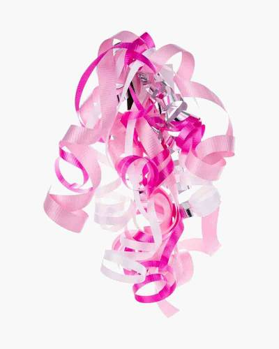 "Pink/White/Silver Curly Ribbon Gift Bow (6.5"")"