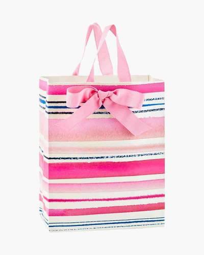Pink Watercolor Stripes Medium Gift Bag