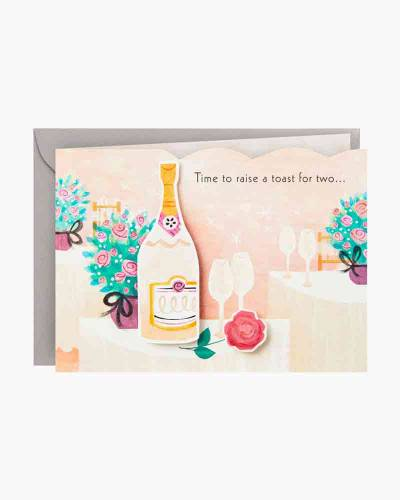 A Toast for Two Champagne Flutes Mini Pop Up Wedding Card