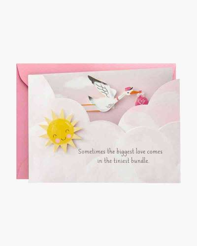 Big Love, Tiny Bundle Mini Pop Up New Baby Girl Card