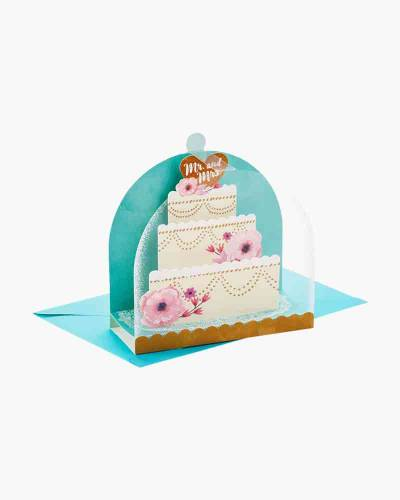 Mr. and Mrs. Cake Cloche Pop Up Wedding Card