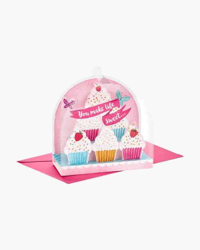 You Make Life Sweet Cupcake Cloche Pop Up Birthday Card
