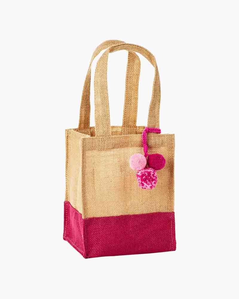 Pink Dipped Burlap Small Gift Bag With Pom Poms 7 5
