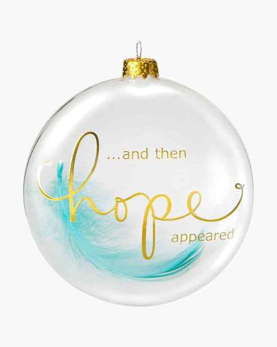 Hope Appeared Feather Glass Ornament