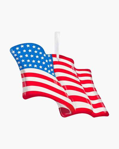 Wave Proudly American Flag Glass Ornament