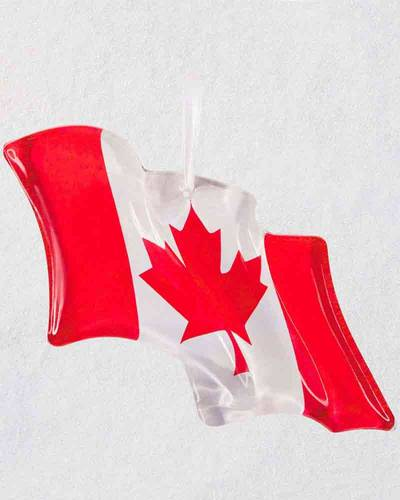 Canadian Pride Flag Glass Ornament
