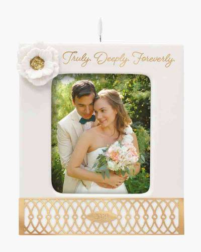 Truly. Deeply. Foreverly. Wedding 2019 Porcelain and Metal Photo Frame Ornament