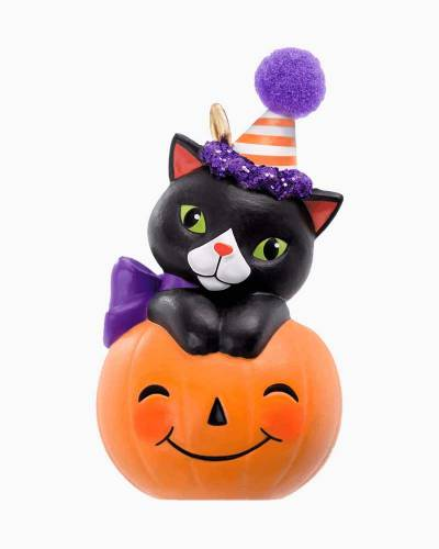 Mini Tiny Black Cat Halloween Ornament, 1.09""