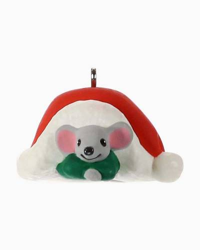 Mini A Creature Was Stirring Mouse With Santa Hat Ornament, 0.79""