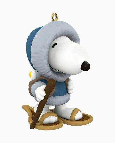 Mini Peanuts Winter Fun With Snoopy Snowshoeing Ornament, 1.04""