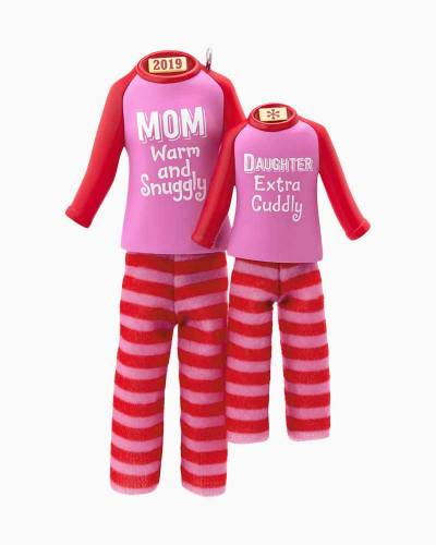 Mom & Daughter Matching Christmas Pajamas 2019 Ornament