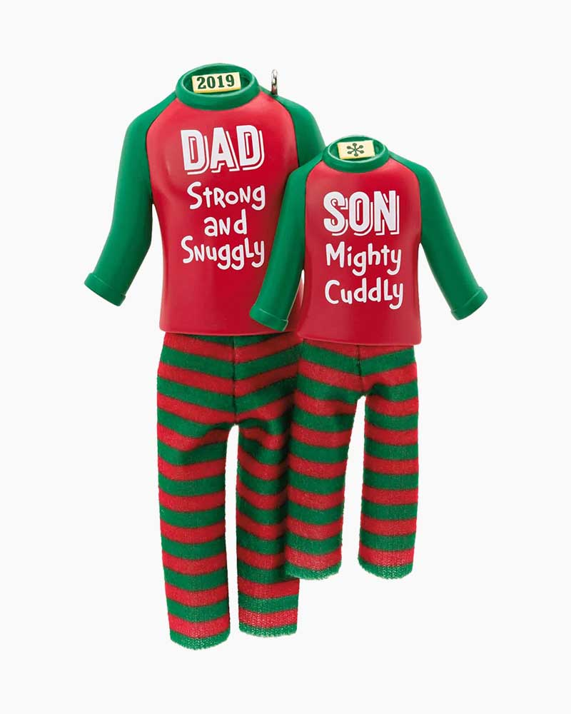 Matching Christmas Pajamas.Dad Son Matching Christmas Pajamas 2019 Ornament