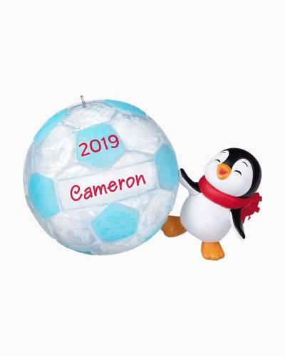 Soccer Star Penguin 2019 DIY Personalization Ornament