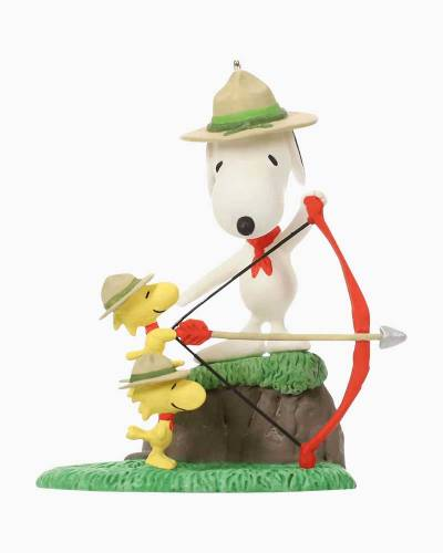 Peanuts Snoopy and the Beagle Scouts Archery Practice Ornament