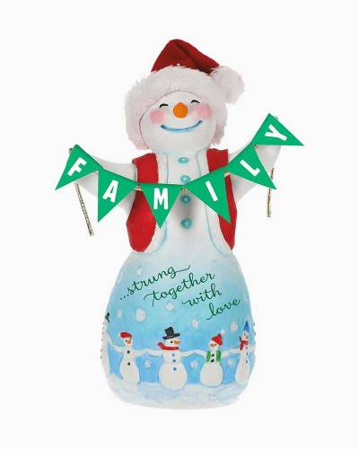 Family Love Snowman Porcelain Ornament