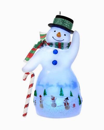 Glistening Lantern Snowman Ornament With Light