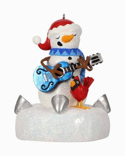 Blue Christmas Snowman Musical Ornament With Light