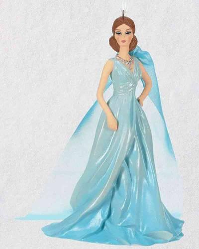 Blue Chiffon Fashion Collection Barbie Porcelain Exclusive Ornament