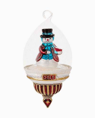 Snowman Dome 2019 Blown Glass Ornament