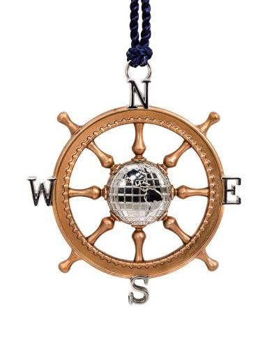 Signature Premium Ship's Wheel Compass Metal Hallmark Ornament