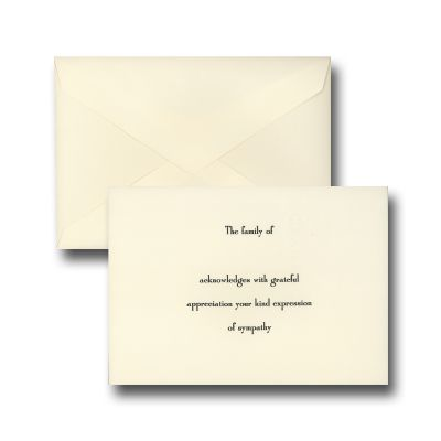 Sympathy Acknowledgement Hand-Engraved Notes