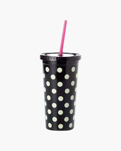 Black Dots Tumbler With Straw