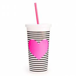 ban.do Pink Heart With Stripes Tumbler With Straw