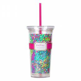 Lilly Pulitzer Lilly's Lagoon Tumbler with Straw