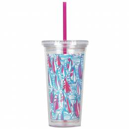 Lilly Pulitzer Red Right Return Tumbler with Straw