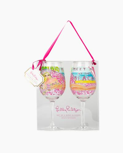 Meet Me at the Beach Set of 2 Wine Glasses