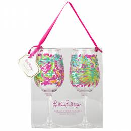 Lilly Pulitzer Spot Ya Set of 2 Wine Glasses