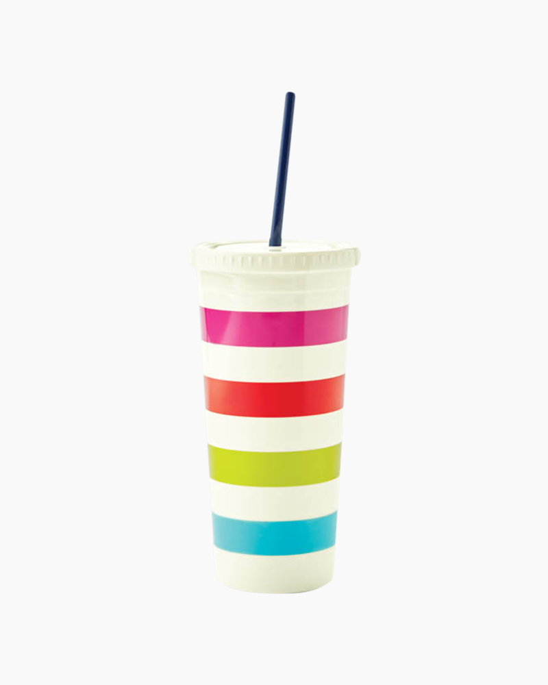 Kate Spade Candy Stripe Insulated Tumbler with Straw