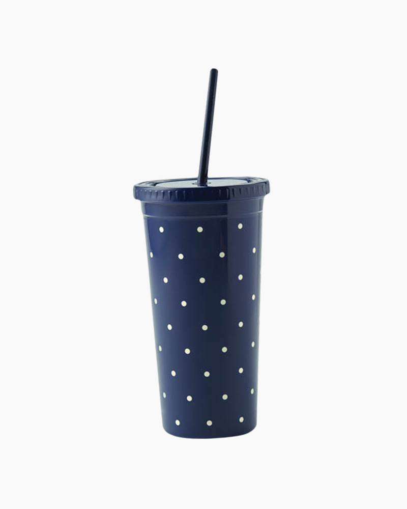 Kate Spade Larabee Dot Navy Insulated Tumbler with Straw