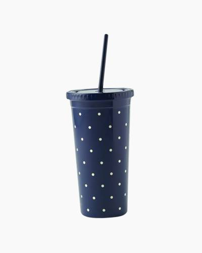 Larabee Dot Navy Insulated Tumbler with Straw
