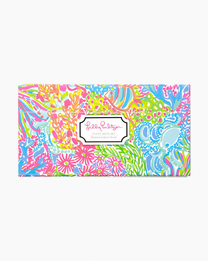 Lilly Pulitzer Sticky Note Box Set in Lovers Coral