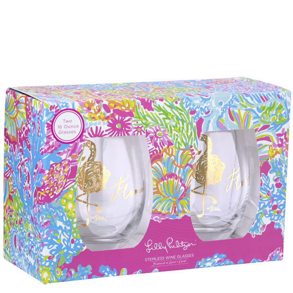 Lilly Pulitzer Flamingle Stemless Wine Glass Set in Lovers Coral