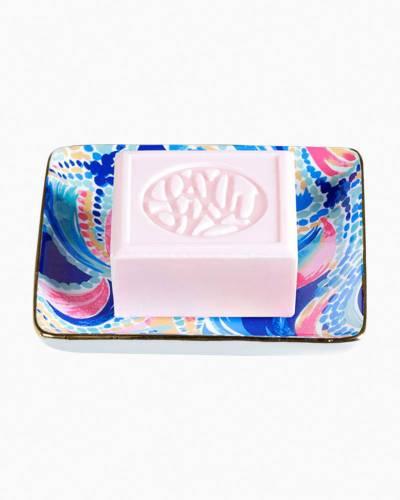 Glass Soap Tray in Ocean Jewels