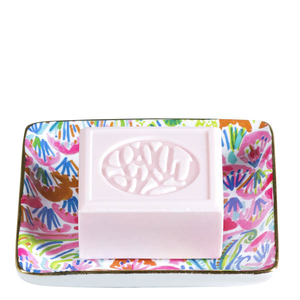Lilly Pulitzer Glass Soap Tray in I'm So Happy